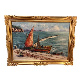 French Oil on Canvas Painting of Seascape