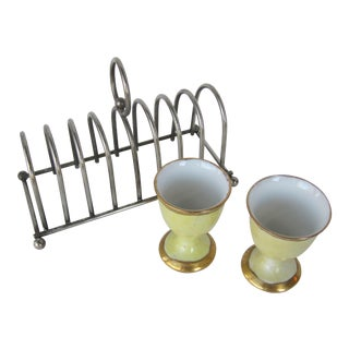 Vintage Eggs Cups & Toast Rack Set