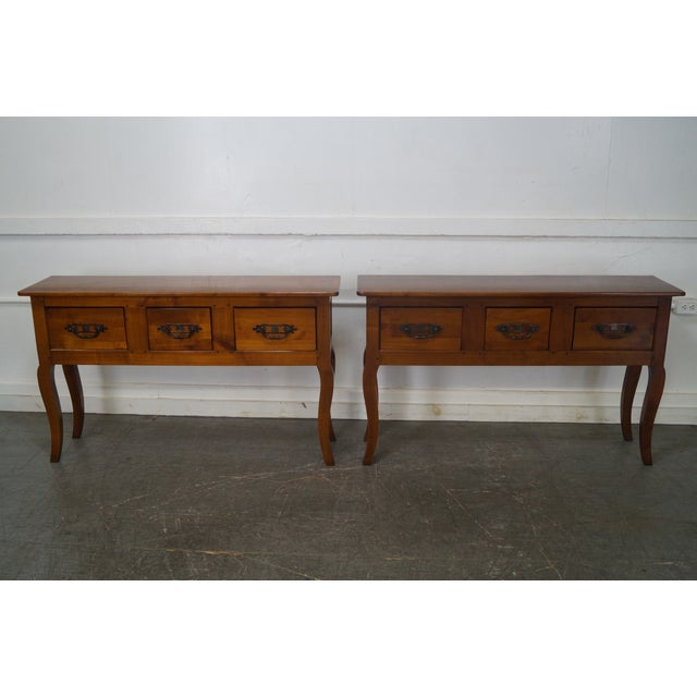Custom French Country Cherry Wood Console Tables - A Pair - Image 2 of 10