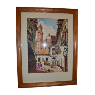 Vintage Taxco Mexican Watercolor Painting