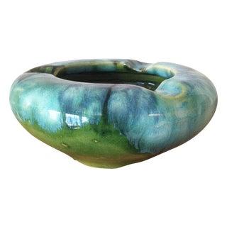 Mid-Century Turquoise Drip Glaze Clay Ashtray