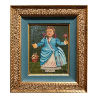 Agapito Labios - Girl w/Beautiful Dress-Primitive Mexican Folk Art-Oil Painting