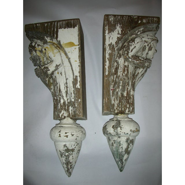 Antique Carved Oak Gargoyle Brackets - A Pair - Image 3 of 11