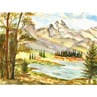 Vintage Watercolor Mountain Lake Painting