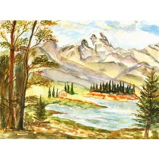 Vintage Watercolor Mountain Lake Painting