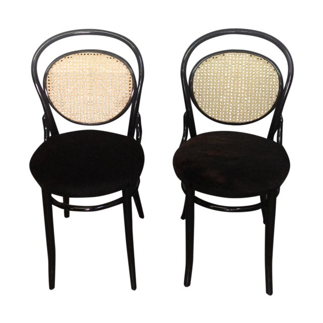 Cane Back Bentwood Chairs With Cowhide Seats - Image 1 of 8