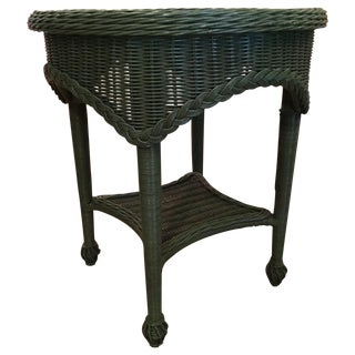 Green Wicker Round Side Table