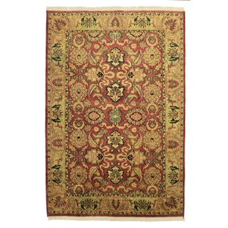 RugsinDallas Indian Hand Knotted Wool Persian Design Rug- 6′1″ × 8′11″