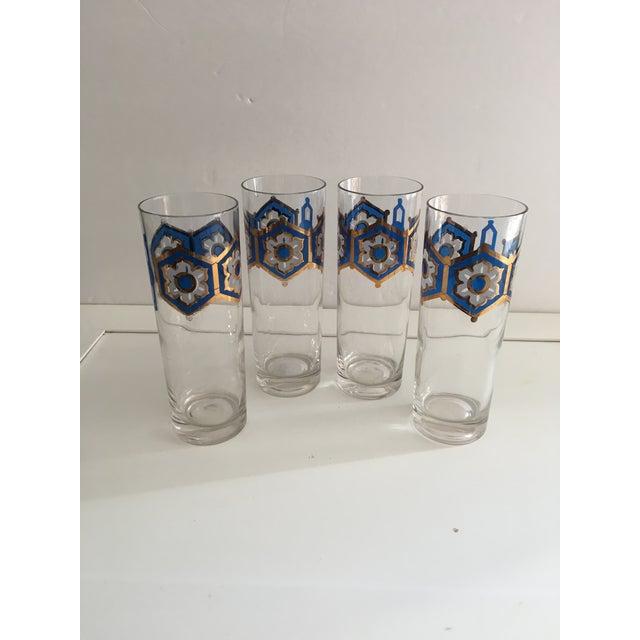 Blue & Gold Foil Highball Glasses - Set of 4 - Image 2 of 5