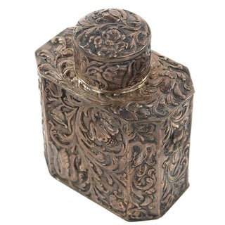 19th Century Antique Silver Repousse Tea Caddy