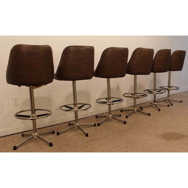 Danish Modern Admiral Chrome Swivel Stools - Set of 6 - Image 4 of 11