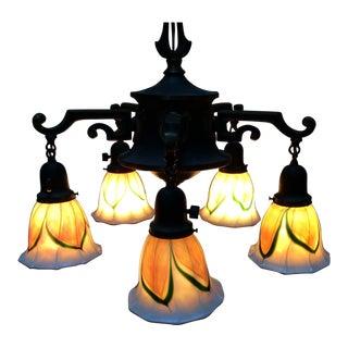 Vintage Hanging Art Nouveau Light Fixture