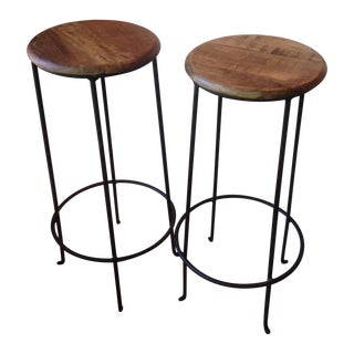 Distressed Wooden Barstools - A Pair