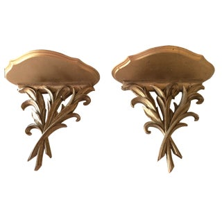 Vintage Gold Wall Brackets - A Pair