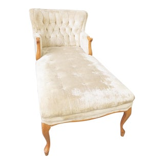 Vintage Crushed Velvet Tufted Chaise Lounger