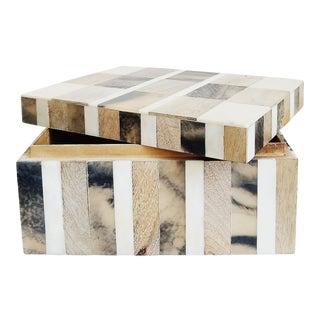 Inlaid Wood and Bone Lidded Box