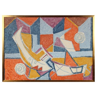 Cubist Abstracted Boats in Oil, Mid 20th Century