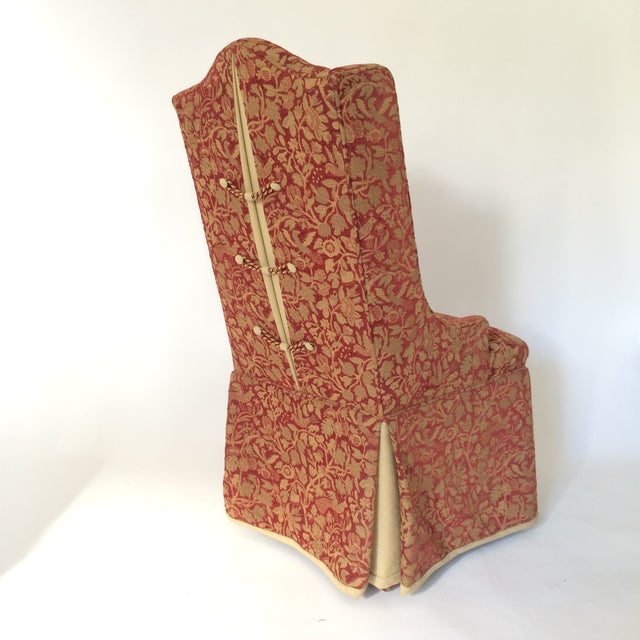 Red & Gold Brocade Dining Chairs - A Pair - Image 4 of 8