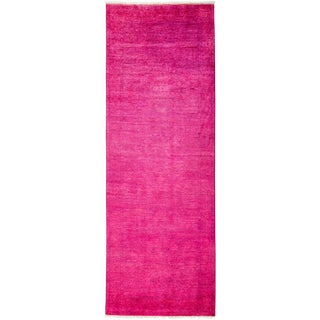 Vibrance Pink Hand Knotted Runner - 3' X 8'7""