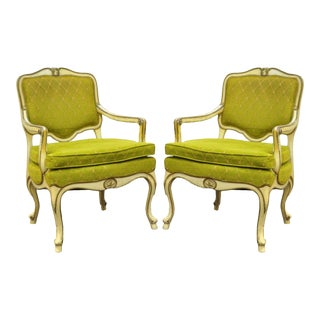 Hollywood Regency French Louis XV Chairs - A Pair