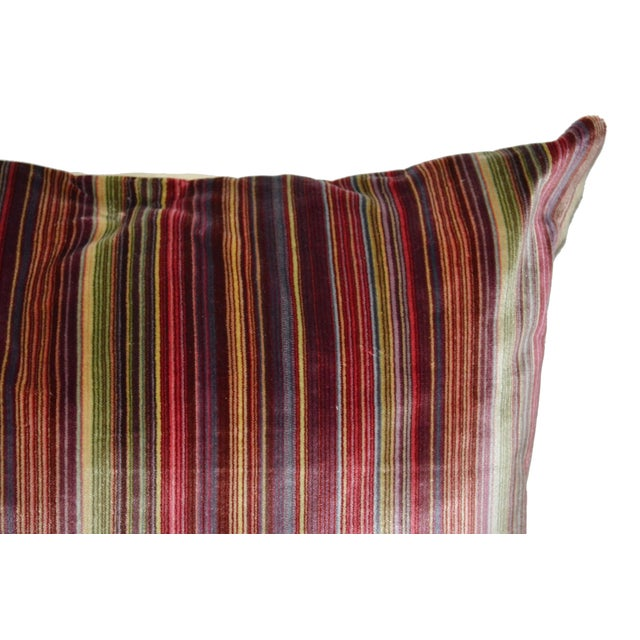 Scalamandré 100% Silk Velvet Rainbow Stripe Pillow - Image 4 of 10