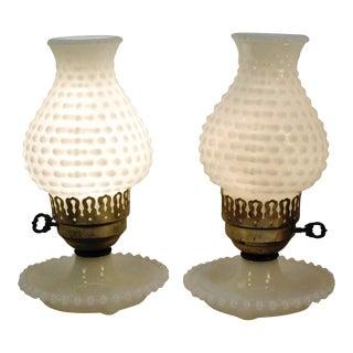 Vintage Hobnail Milk Glass Boudoir Lamps - A Pair