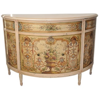 French Painted Demilune Cabinet C. 1940
