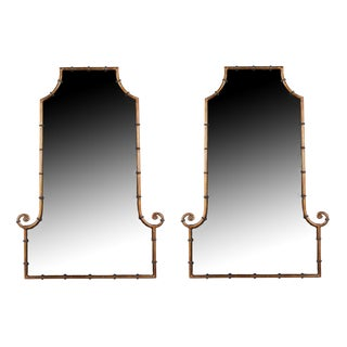 Pair of James Mont Style Faux Bamboo Frame Mirrors, 1960s