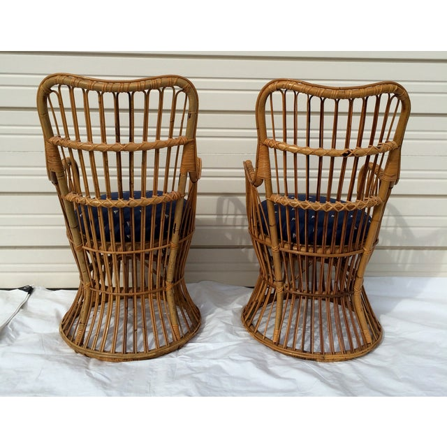 Boho Chic Rattan Chairs - A Pair - Image 5 of 9