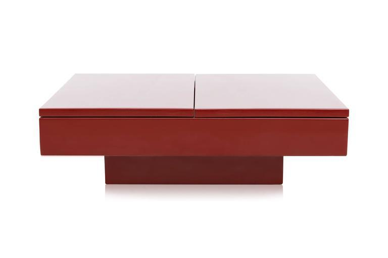 Red Lacquered Sliding Bar Coffee Table   Image 3 Of 10