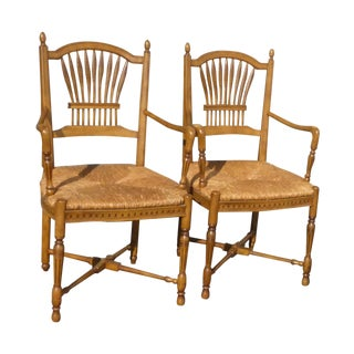 Rush Seat French Country Armchairs - A Pair