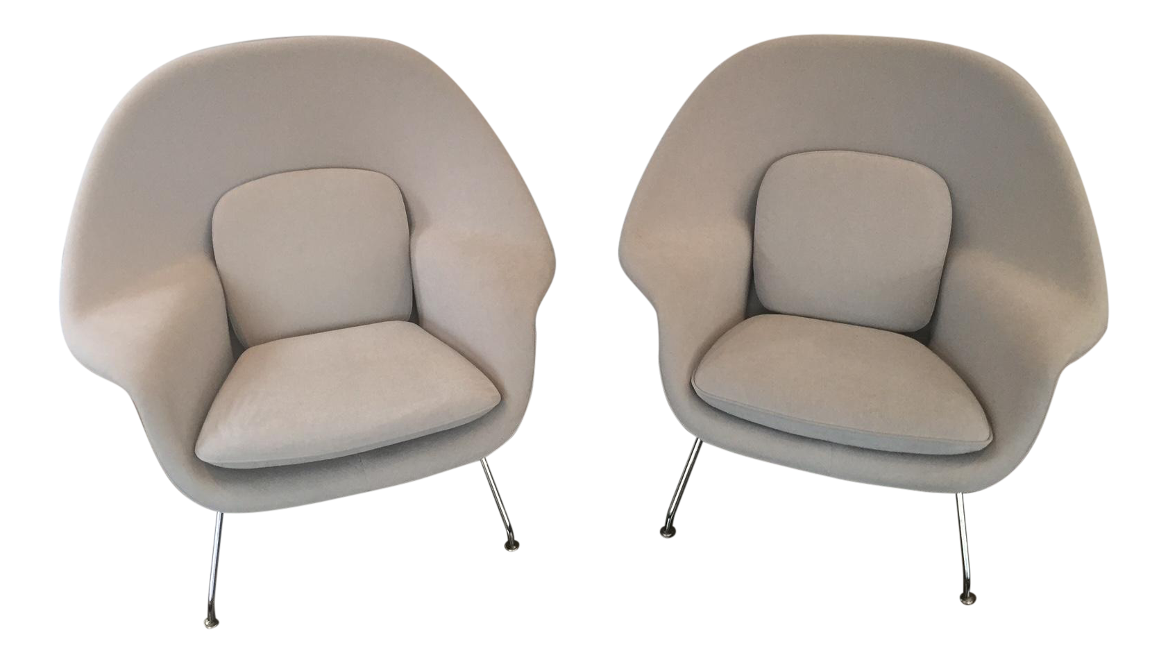 gray eero saarinen womb chairs a pair