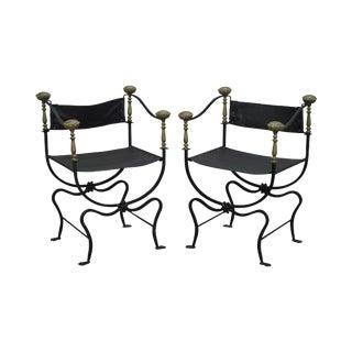 Iron Brass & Leather Savonarola Curule Arm Chairs - a Pair