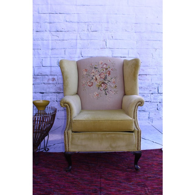 Huge Antique Velvet & Needlepoint Wingback Armchair - Image 3 of 11