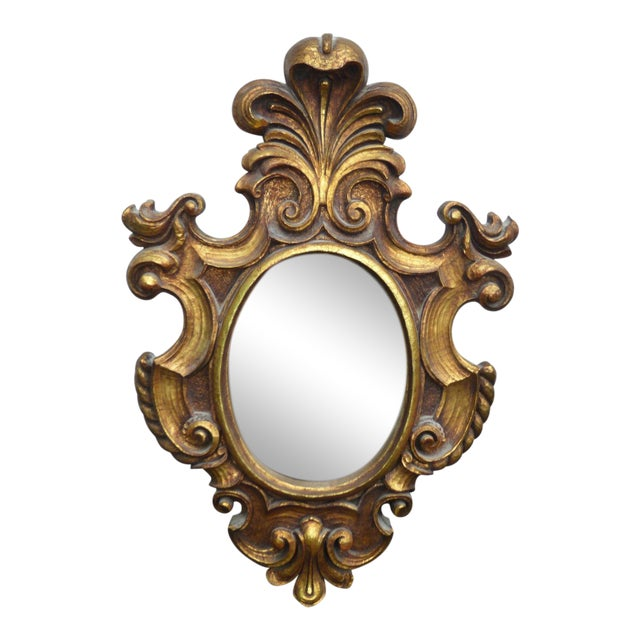 Vintage Syroco Gold Floral Wall Mirror - Image 1 of 11
