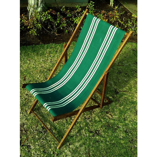 Vintage Wood Amp Canvas Folding Beach Deck Chair Chairish