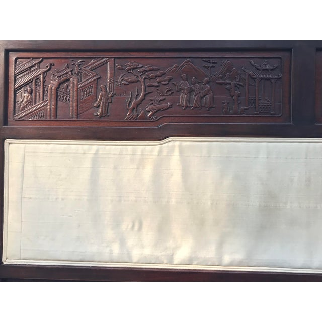 Antique Carved Asian Twin Headboard - Image 3 of 5