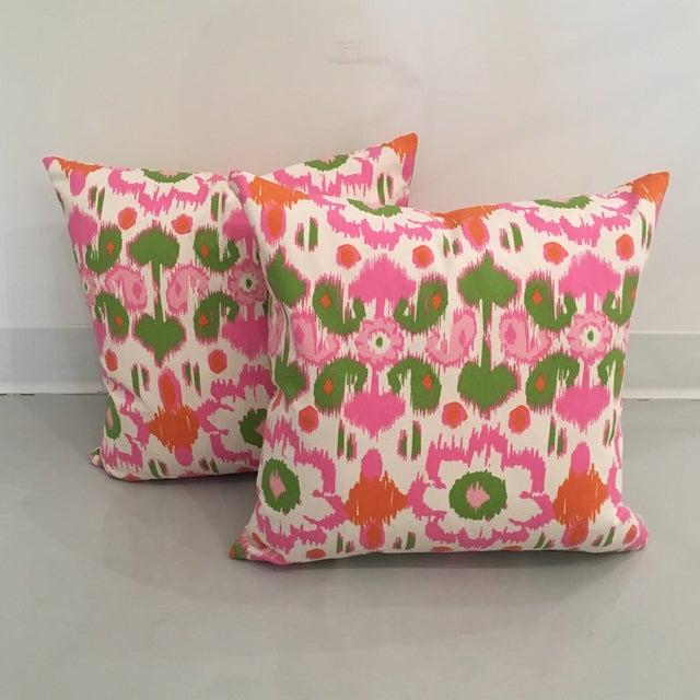 Pink, Orange & Green Ikat Pillows - A Pair - Image 6 of 6