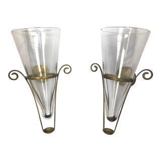 Blown Glass & Brass Vintage French Wall Vase Sconces - A Pair