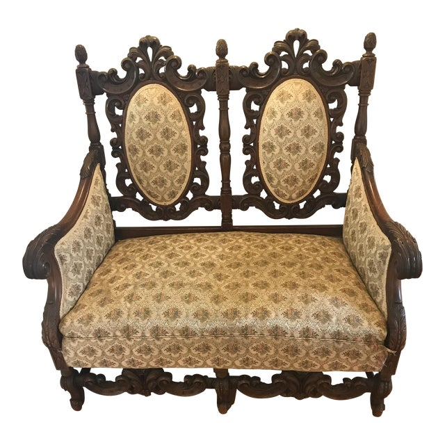 Antique Scottish Carved Settee - Image 1 of 9