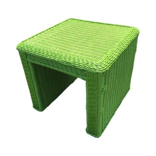 Lime Green Indoor-Outdoor Wicker End Table