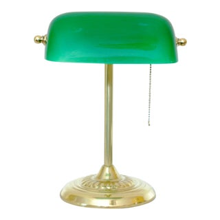 Traditional Style Green Glass Shade Desk Lamp