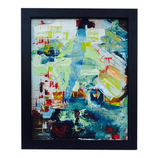 Mid-Century Mixed Media Abstract Oil Painting