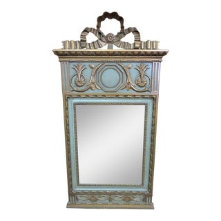 Italian Style Carved Green & Gold Mirror