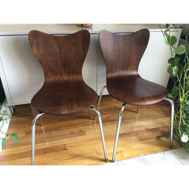 West Elm Scoop Back Chairs - A Pair - Image 2 of 6