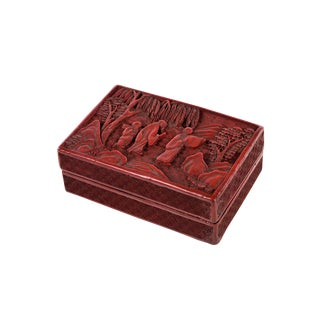 19th Century Chinese Carved Cinnabar Box