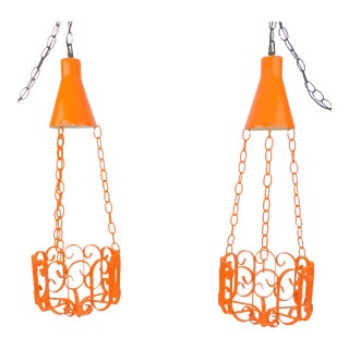 Orange Wrought Iron Lighted Plant Holders - A Pair
