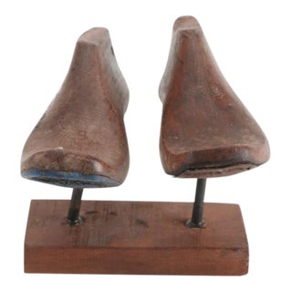 Brown Vintage Wood Shoe Molds on Stand - A Pair