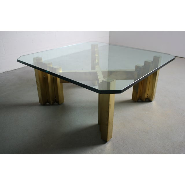 Brutalist octagonal glass top brass coffee table chairish for Octagon glass top coffee table