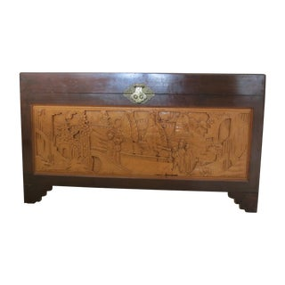 Vintage Chinese Cedar Chest with Intricate Carving